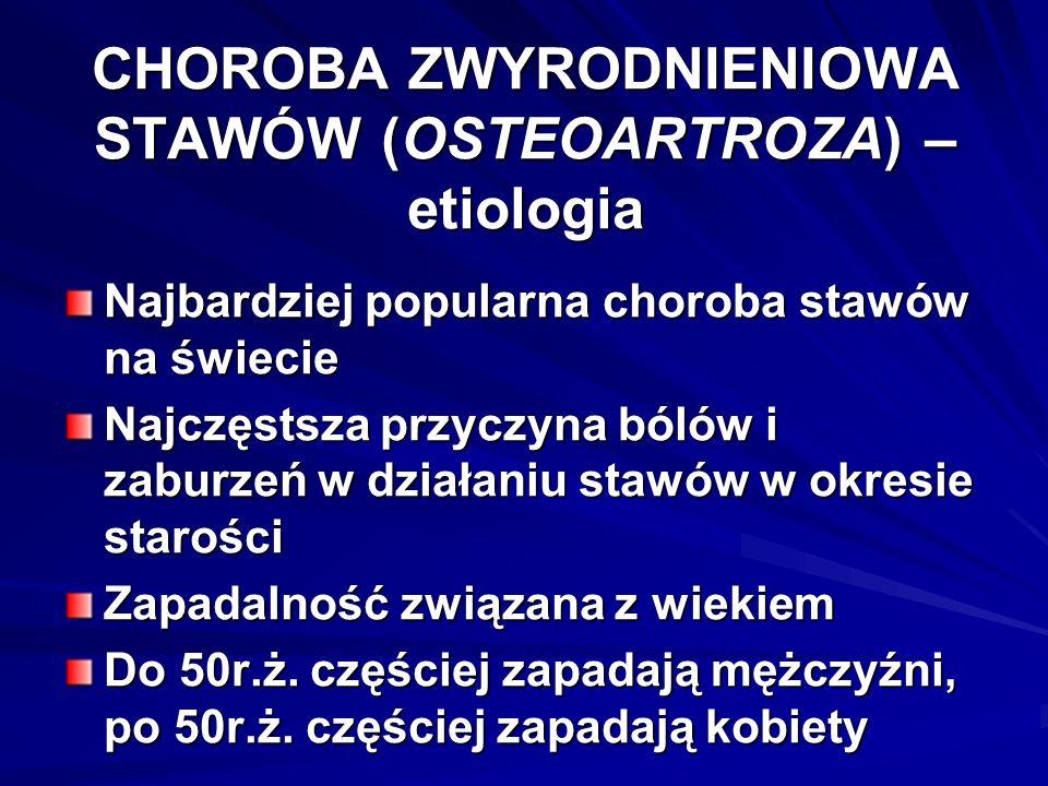 CHOROBA ZWYRODNIENIOWA STAWÓW (OSTEOARTROZA) – etiologia