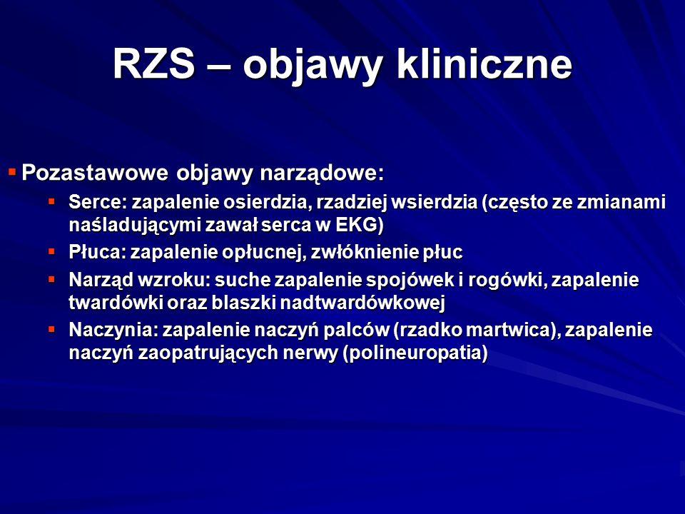 RZS – objawy kliniczne Pozastawowe objawy narządowe: