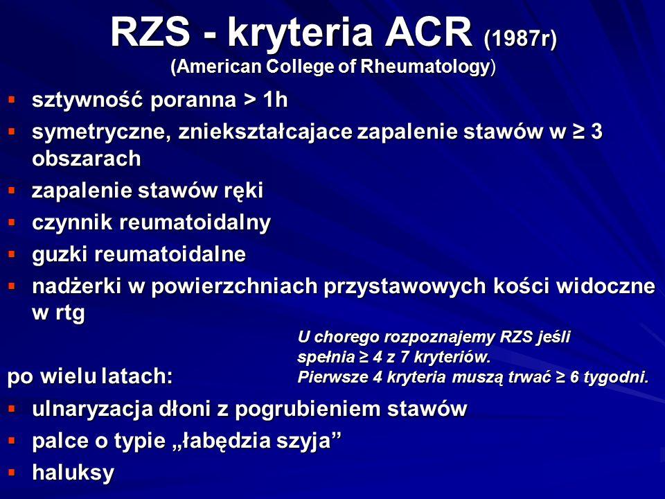 RZS - kryteria ACR (1987r) (American College of Rheumatology)