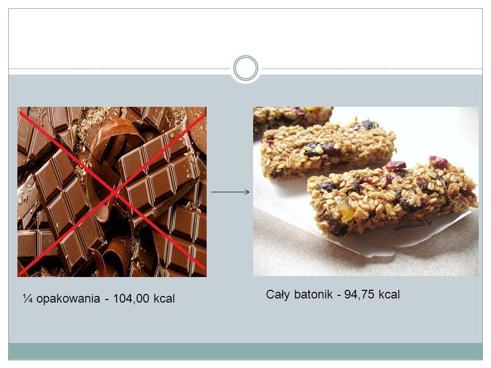 Cały batonik - 94,75 kcal ¼ opakowania - 104,00 kcal
