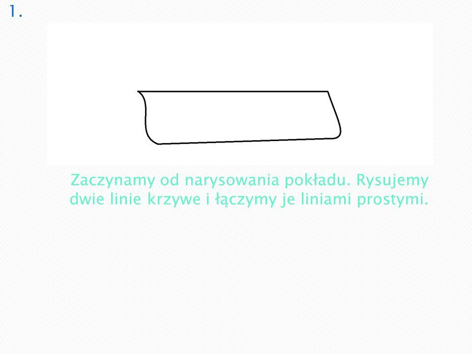1. Zaczynamy od narysowania pokładu. Rysujemy dwie linie krzywe i łączymy je liniami prostymi.
