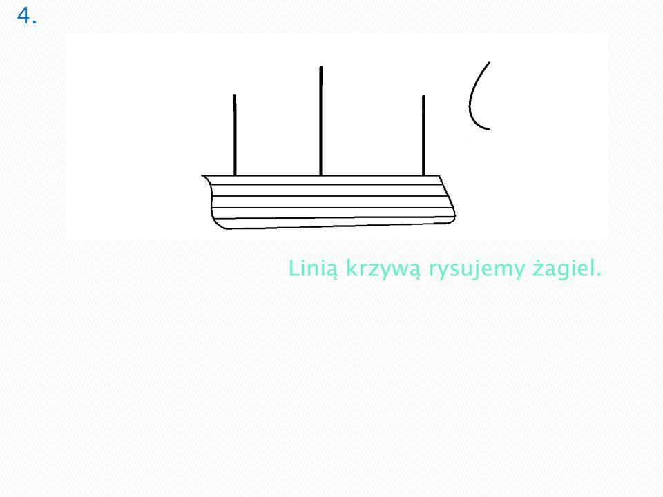 4. Linią krzywą rysujemy żagiel.