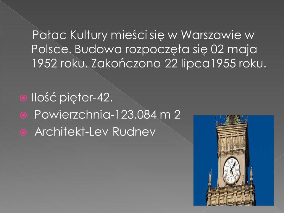 Pałac Kultury mieści się w Warszawie w Polsce