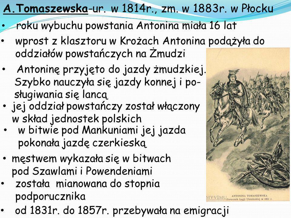 A.Tomaszewska-ur. w 1814r., zm. w 1883r. w Płocku