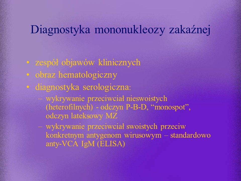 Diagnostyka mononukleozy zakaźnej