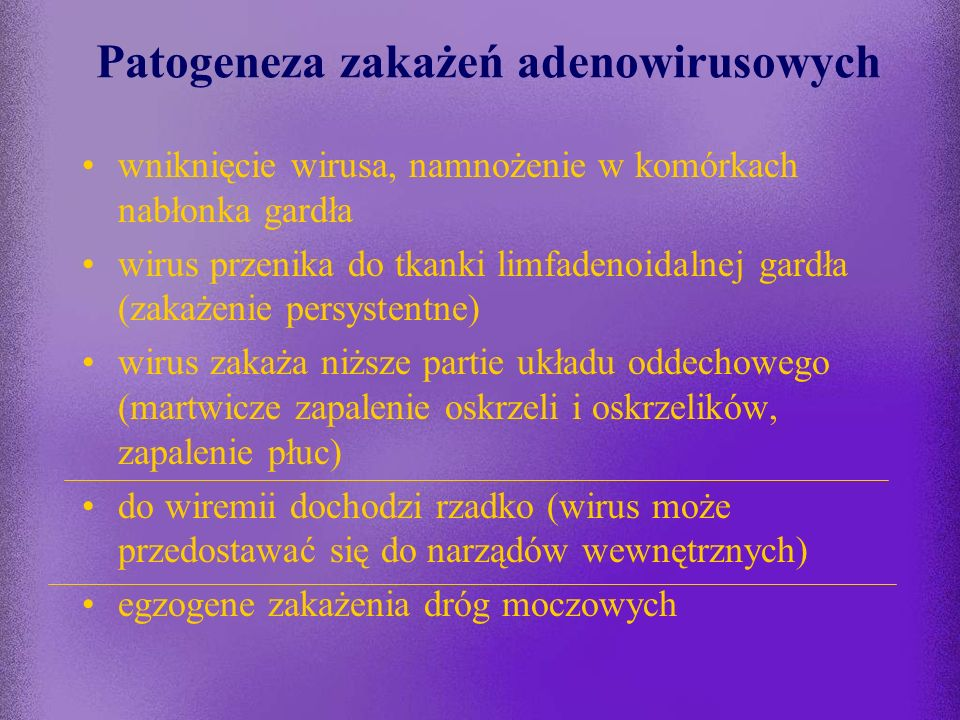 Patogeneza zakażeń adenowirusowych