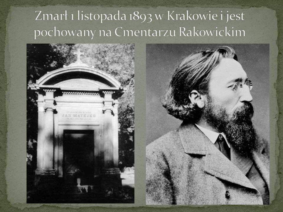 Zmarł 1 listopada 1893 w Krakowie i jest pochowany na Cmentarzu Rakowickim