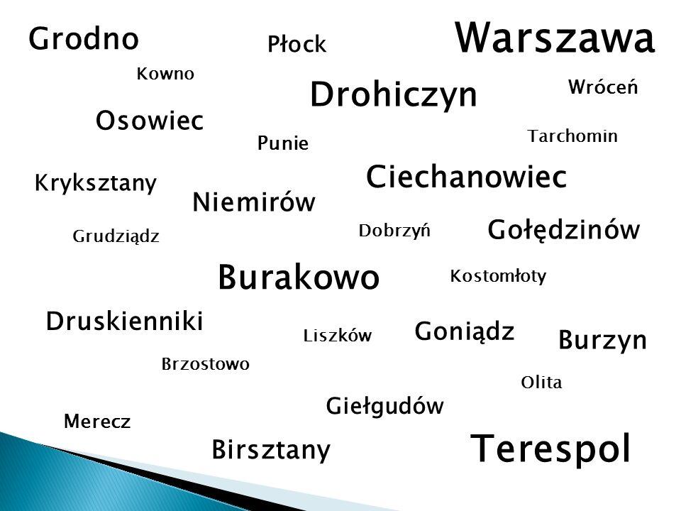 Warszawa Terespol Drohiczyn Burakowo Grodno Ciechanowiec Osowiec