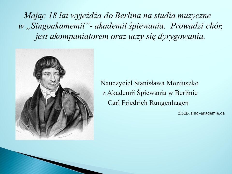 """Mając 18 lat wyjeżdża do Berlina na studia muzyczne w """"Singoakamemii - akademii śpiewania. Prowadzi chór, jest akompaniatorem oraz uczy się dyrygowania."""