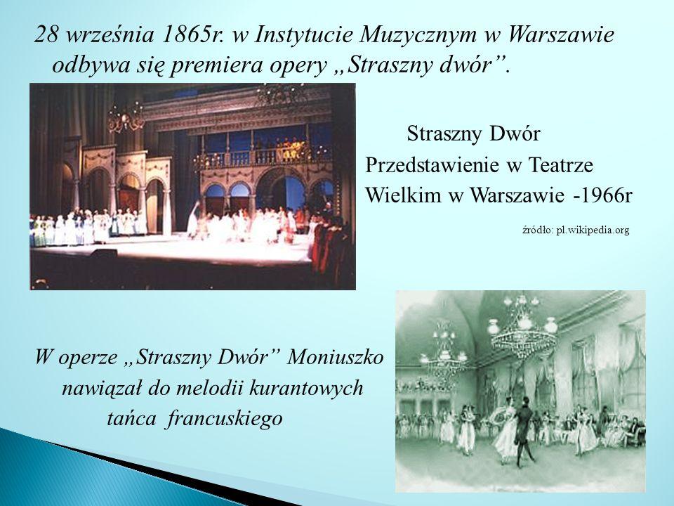 """28 września 1865r. w Instytucie Muzycznym w Warszawie odbywa się premiera opery """"Straszny dwór ."""