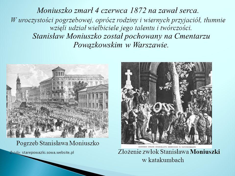 Moniuszko zmarł 4 czerwca 1872 na zawał serca.