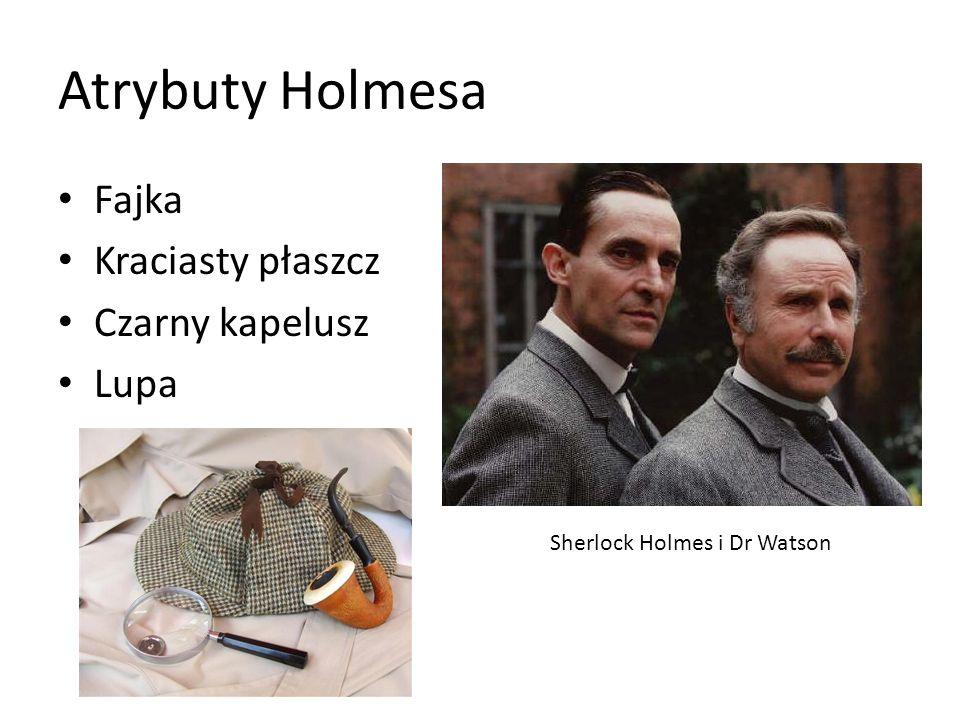 Atrybuty Holmesa Fajka Kraciasty płaszcz Czarny kapelusz Lupa