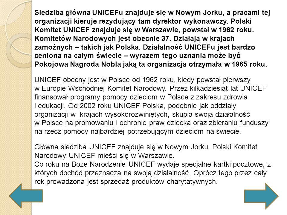 Siedziba główna UNICEFu znajduje się w Nowym Jorku, a pracami tej organizacji kieruje rezydujący tam dyrektor wykonawczy. Polski Komitet UNICEF znajduje się w Warszawie, powstał w 1962 roku. Komitetów Narodowych jest obecnie 37. Działają w krajach zamożnych – takich jak Polska. Działalność UNICEFu jest bardzo ceniona na całym świecie – wyrazem tego uznania może być Pokojowa Nagroda Nobla jaką ta organizacja otrzymała w 1965 roku.