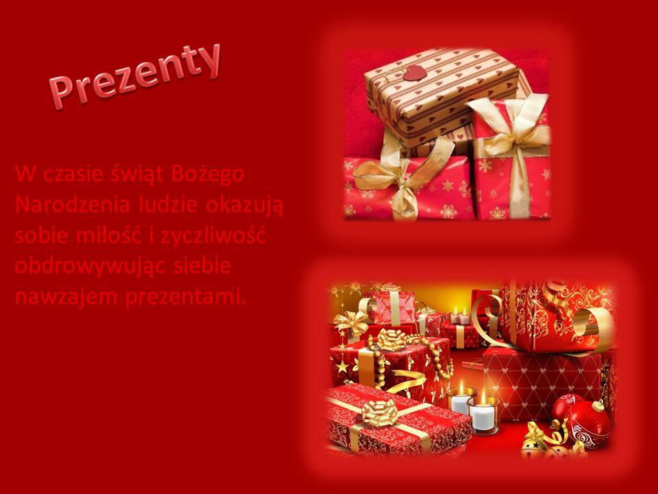 Prezenty W czasie świąt Bożego Narodzenia ludzie okazują sobie miłość i zyczliwość obdrowywując siebie nawzajem prezentami.