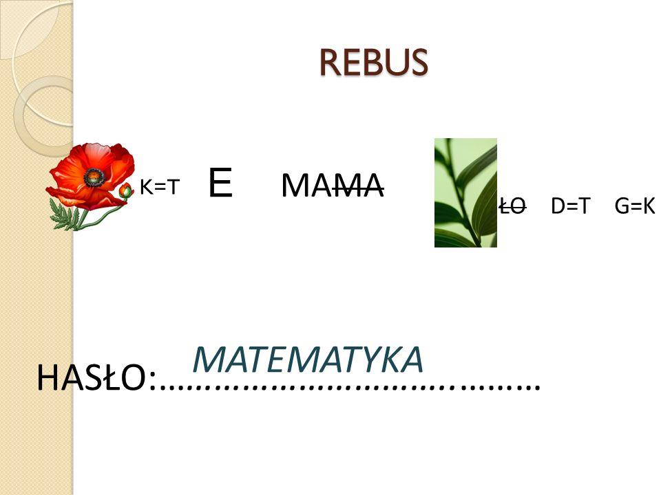 REBUS E MAMA K=T ŁO D=T G=K MATEMATYKA HASŁO:…………………………..………
