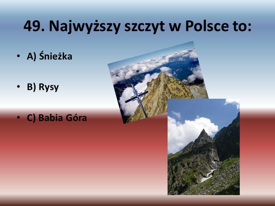 49. Najwyższy szczyt w Polsce to: