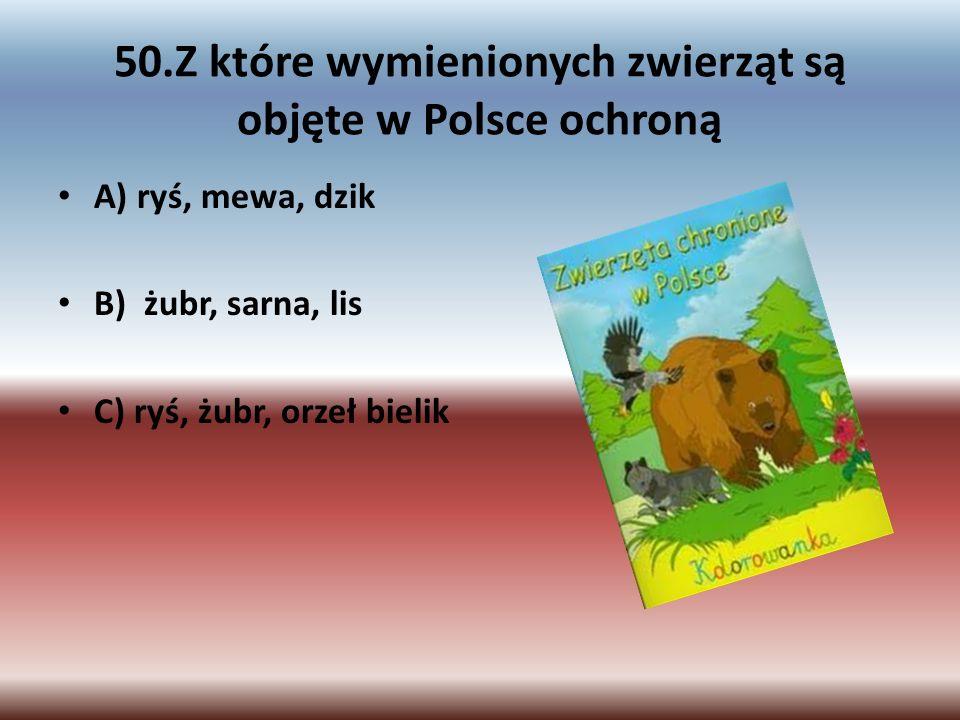 50.Z które wymienionych zwierząt są objęte w Polsce ochroną
