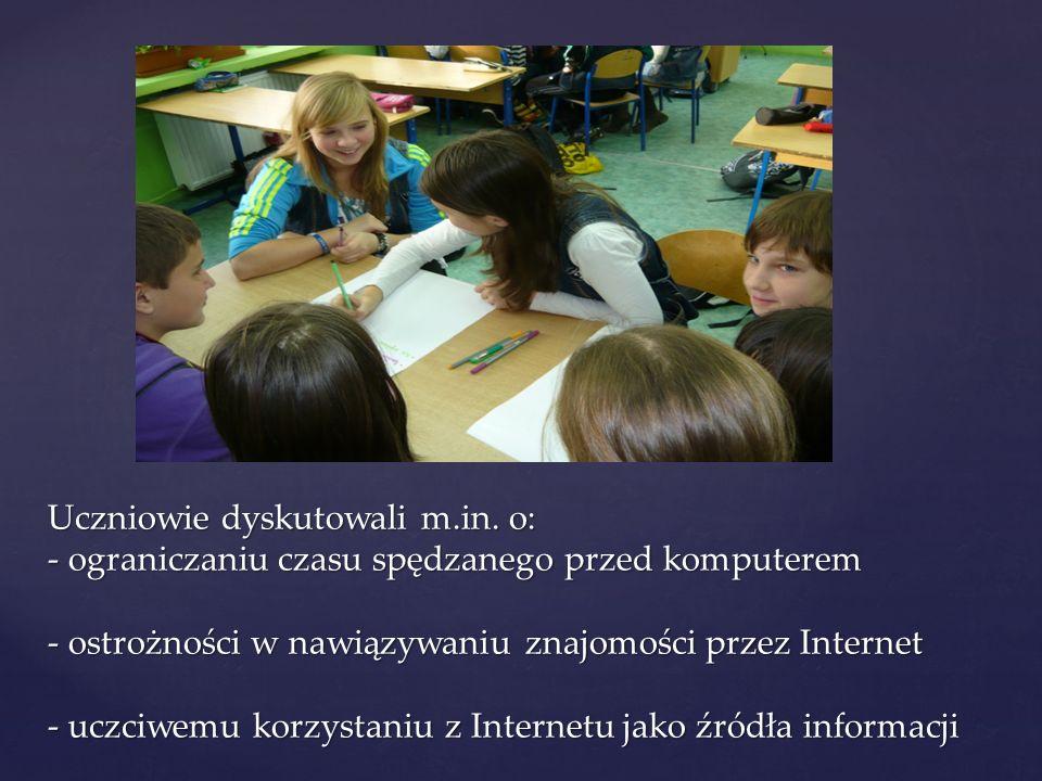Uczniowie dyskutowali m. in