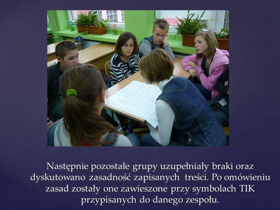 Następnie pozostałe grupy uzupełniały braki oraz dyskutowano zasadność zapisanych treści.