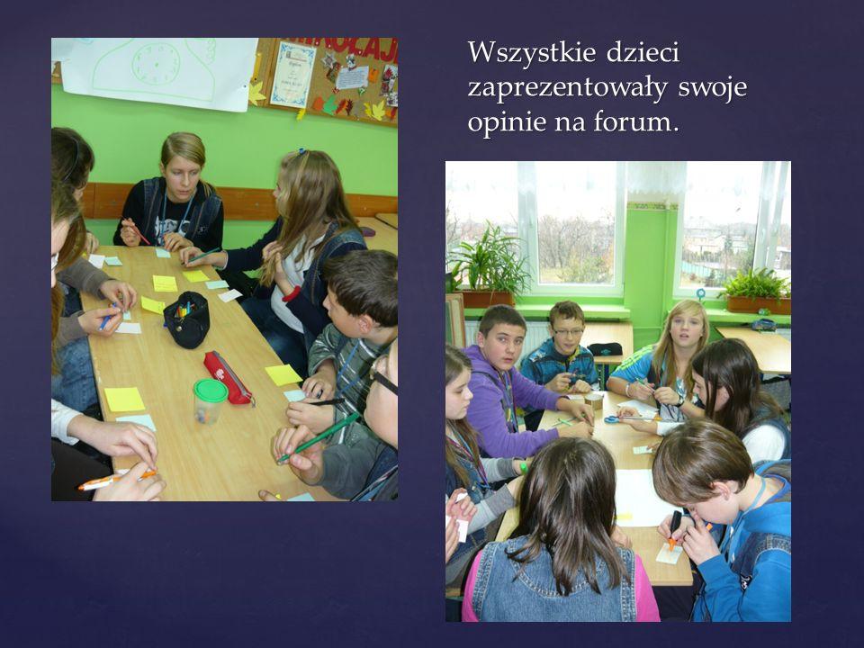 Wszystkie dzieci zaprezentowały swoje opinie na forum.