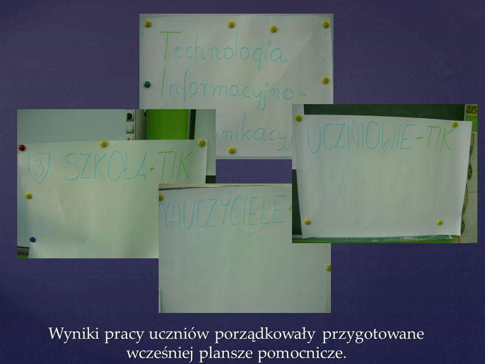 Wyniki pracy uczniów porządkowały przygotowane wcześniej plansze pomocnicze.
