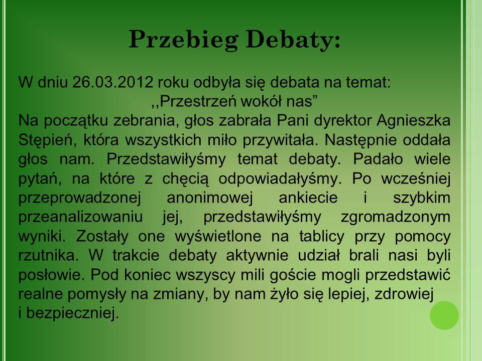Przebieg Debaty: W dniu 26.03.2012 roku odbyła się debata na temat: