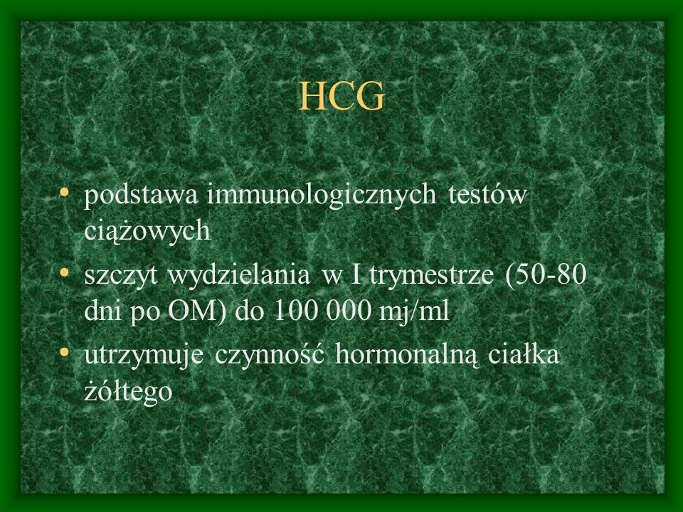 HCG podstawa immunologicznych testów ciążowych