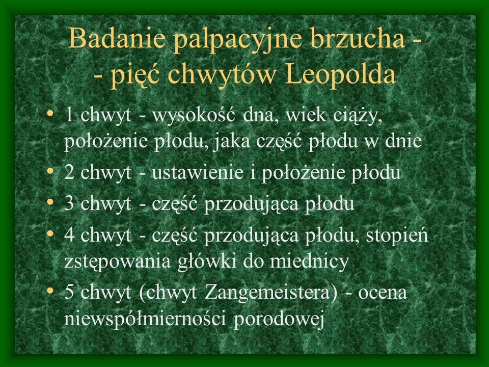 Badanie palpacyjne brzucha - - pięć chwytów Leopolda