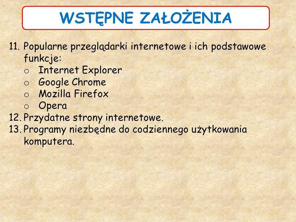 WSTĘPNE ZAŁOŻENIA Popularne przeglądarki internetowe i ich podstawowe funkcje: Internet Explorer. Google Chrome.