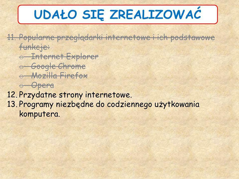 UDAŁO SIĘ ZREALIZOWAĆ Popularne przeglądarki internetowe i ich podstawowe funkcje: Internet Explorer.