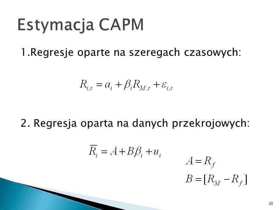 Estymacja CAPM 1.Regresje oparte na szeregach czasowych: 2.