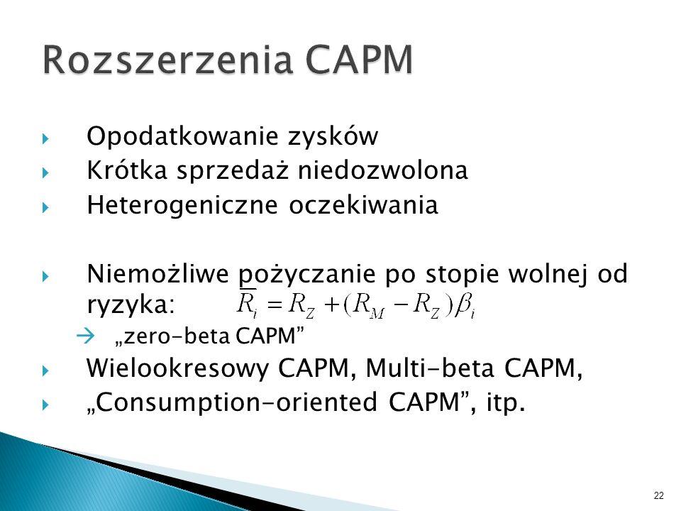 Rozszerzenia CAPM Opodatkowanie zysków Krótka sprzedaż niedozwolona
