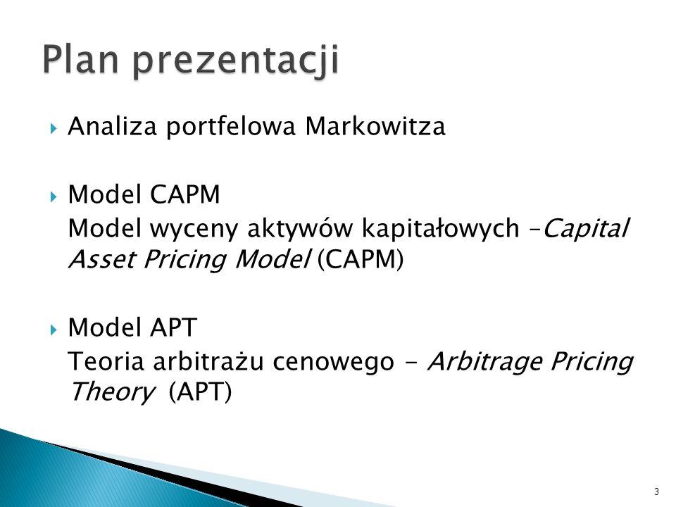 Plan prezentacji Analiza portfelowa Markowitza Model CAPM