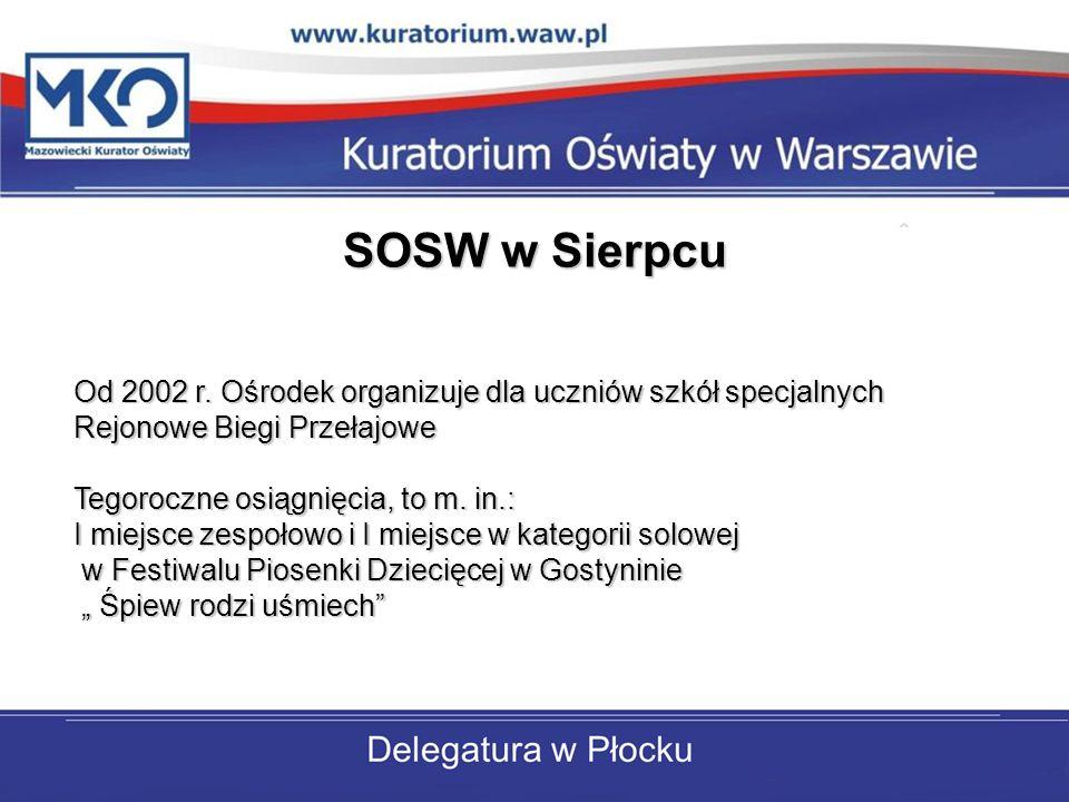 SOSW w Sierpcu Od 2002 r. Ośrodek organizuje dla uczniów szkół specjalnych Rejonowe Biegi Przełajowe.