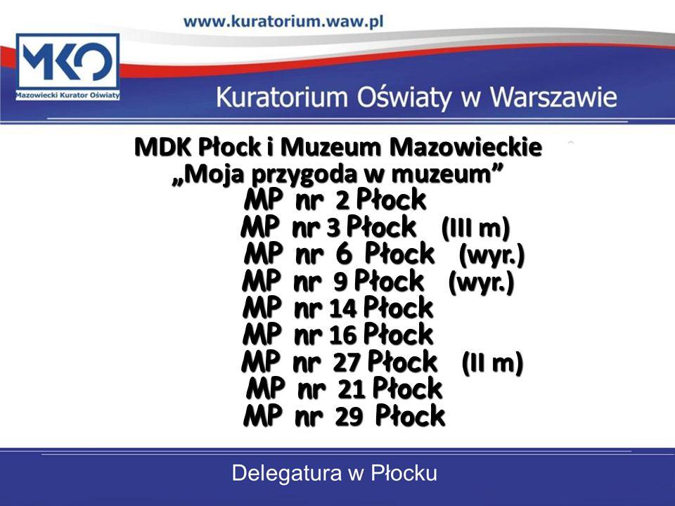 """MDK Płock i Muzeum Mazowieckie """"Moja przygoda w muzeum MP nr 2 Płock MP nr 3 Płock (III m) MP nr 6 Płock (wyr.) MP nr 9 Płock (wyr.) MP nr 14 Płock MP nr 16 Płock MP nr 27 Płock (II m) MP nr 21 Płock MP nr 29 Płock"""