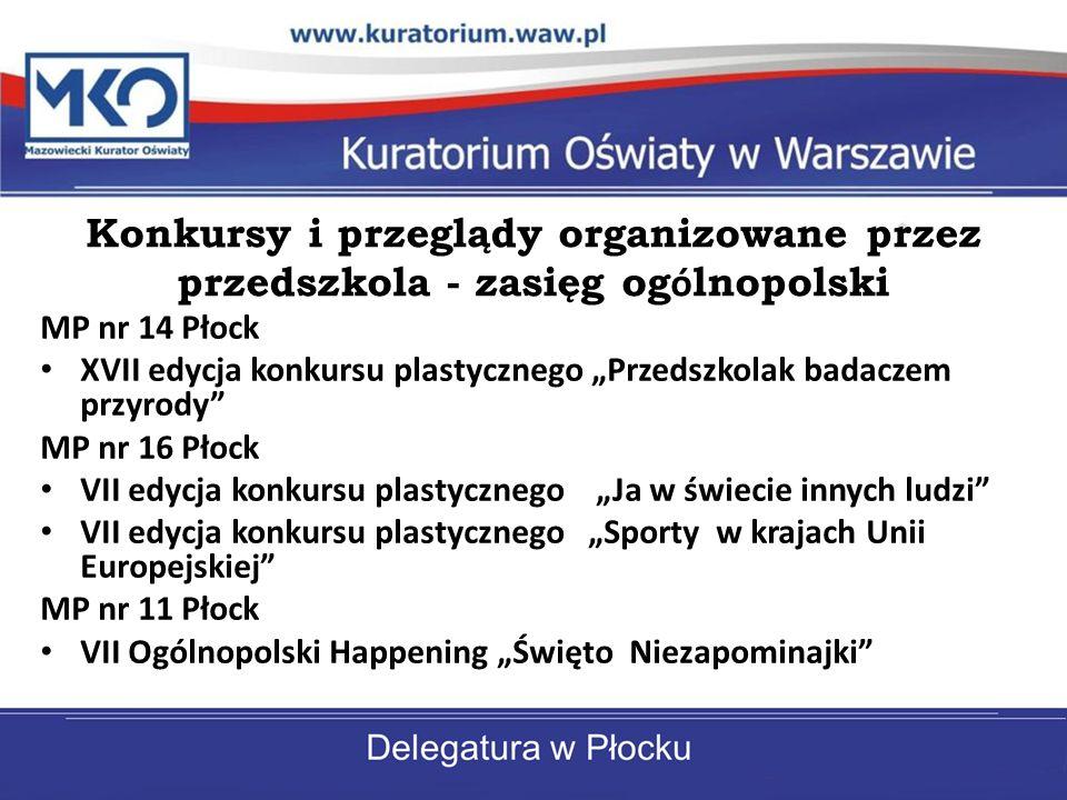 Konkursy i przeglądy organizowane przez przedszkola - zasięg ogólnopolski