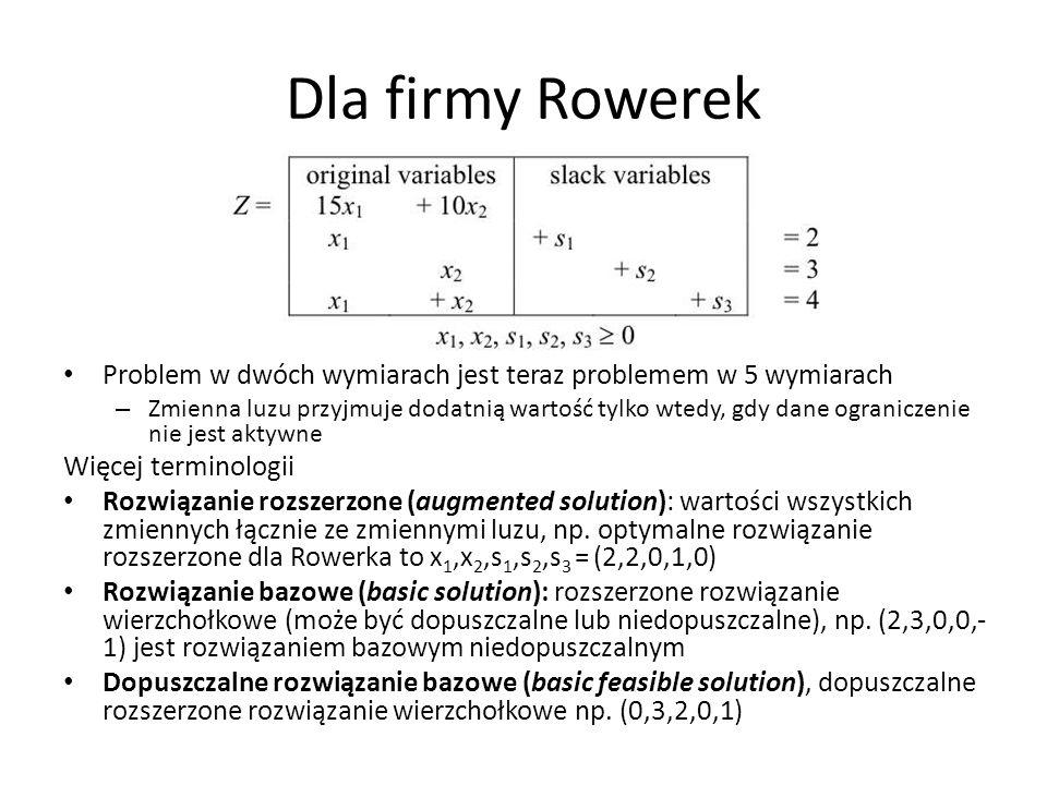 Dla firmy RowerekProblem w dwóch wymiarach jest teraz problemem w 5 wymiarach.
