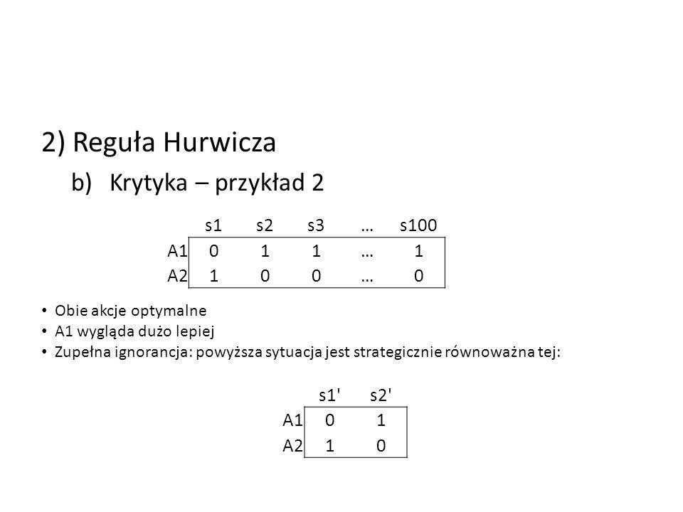 2) Reguła Hurwicza Krytyka – przykład 2 s1 s2 s3 … s100 A1 1 A2 s1