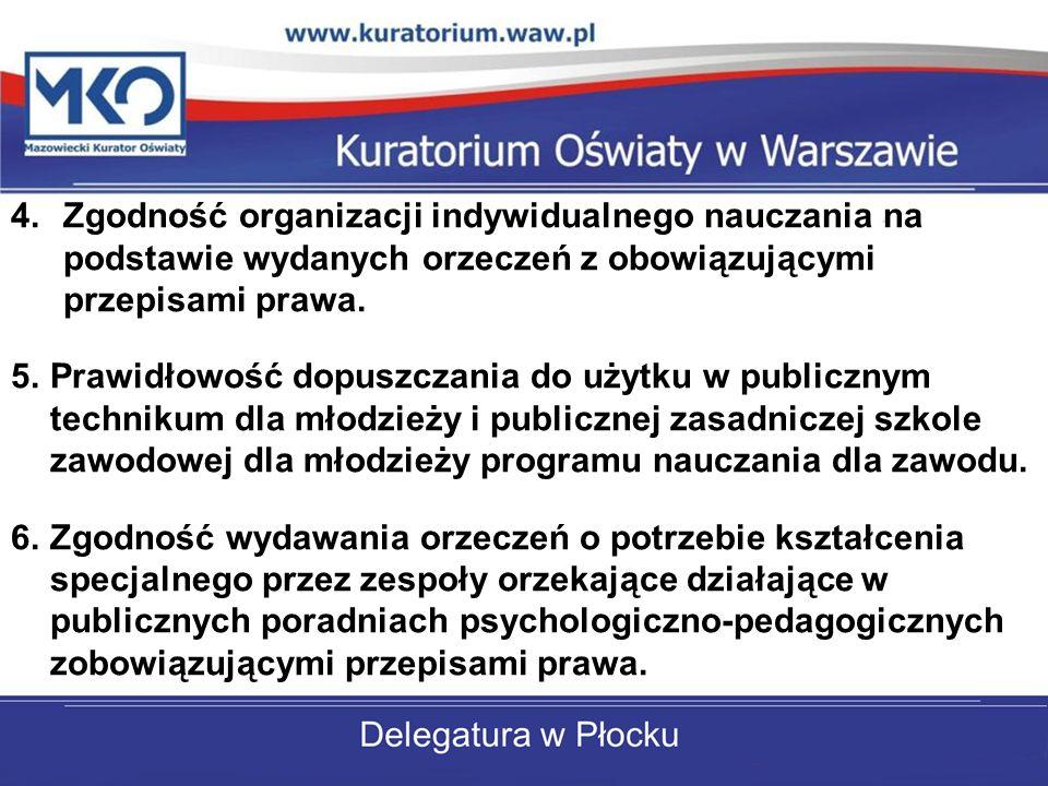 Zgodność organizacji indywidualnego nauczania na podstawie wydanych orzeczeń z obowiązującymi przepisami prawa.