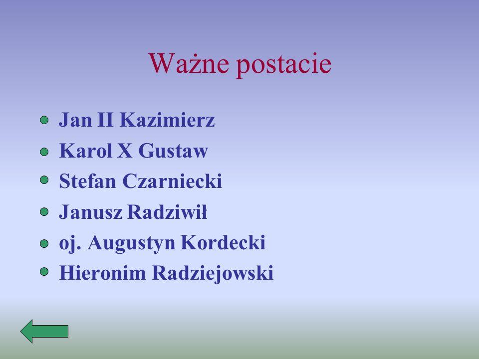 Ważne postacie Jan II Kazimierz Karol X Gustaw Stefan Czarniecki