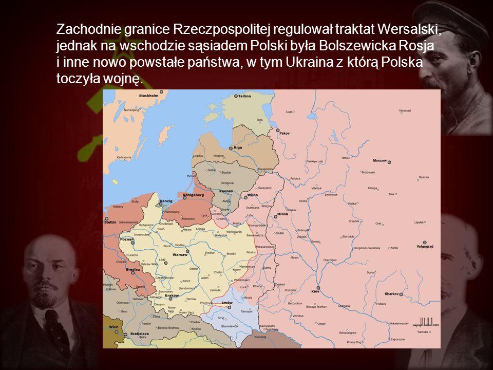 Zachodnie granice Rzeczpospolitej regulował traktat Wersalski, jednak na wschodzie sąsiadem Polski była Bolszewicka Rosja i inne nowo powstałe państwa, w tym Ukraina z którą Polska toczyła wojnę.