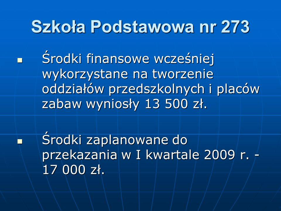 Szkoła Podstawowa nr 273 Środki finansowe wcześniej wykorzystane na tworzenie oddziałów przedszkolnych i placów zabaw wyniosły 13 500 zł.