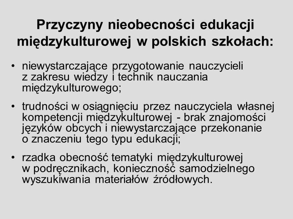 Przyczyny nieobecności edukacji międzykulturowej w polskich szkołach: