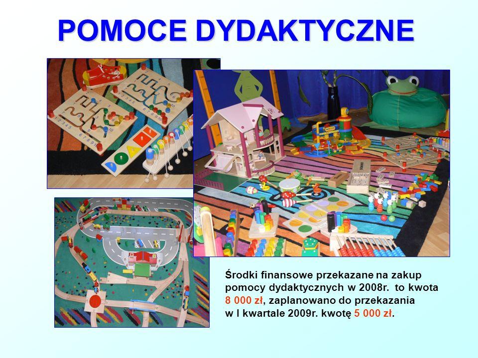 POMOCE DYDAKTYCZNEŚrodki finansowe przekazane na zakup pomocy dydaktycznych w 2008r. to kwota 8 000 zł, zaplanowano do przekazania.