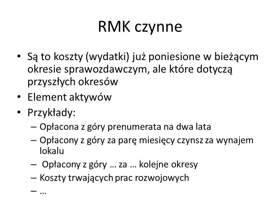 RMK czynne Są to koszty (wydatki) już poniesione w bieżącym okresie sprawozdawczym, ale które dotyczą przyszłych okresów.