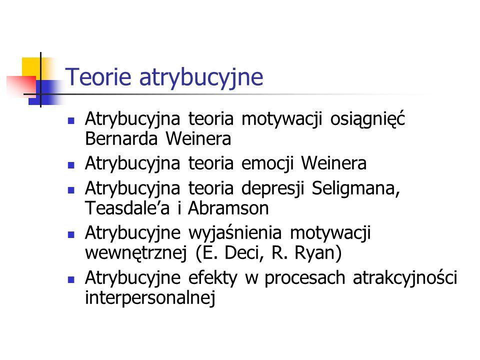 Teorie atrybucyjne Atrybucyjna teoria motywacji osiągnięć Bernarda Weinera. Atrybucyjna teoria emocji Weinera.