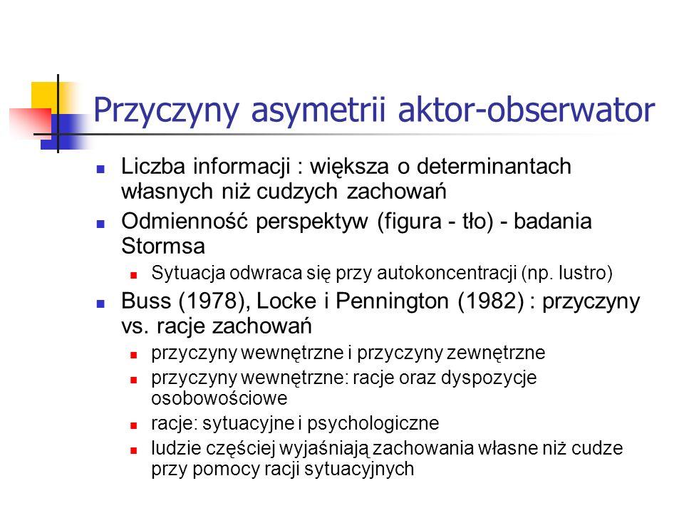 Przyczyny asymetrii aktor-obserwator