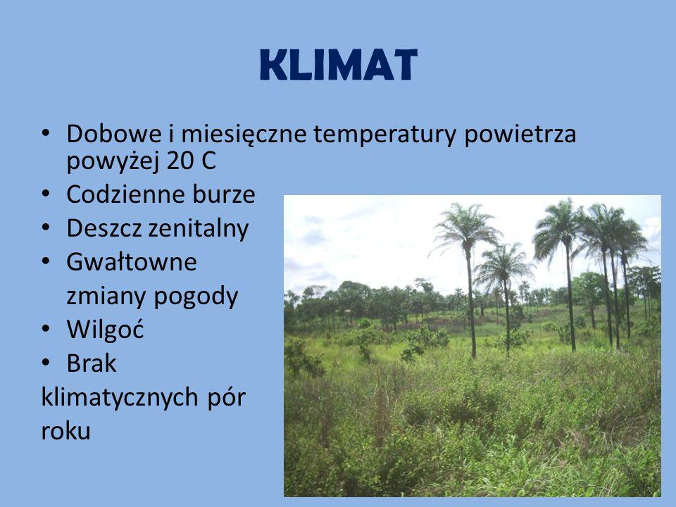 KLIMAT Dobowe i miesięczne temperatury powietrza powyżej 20 C