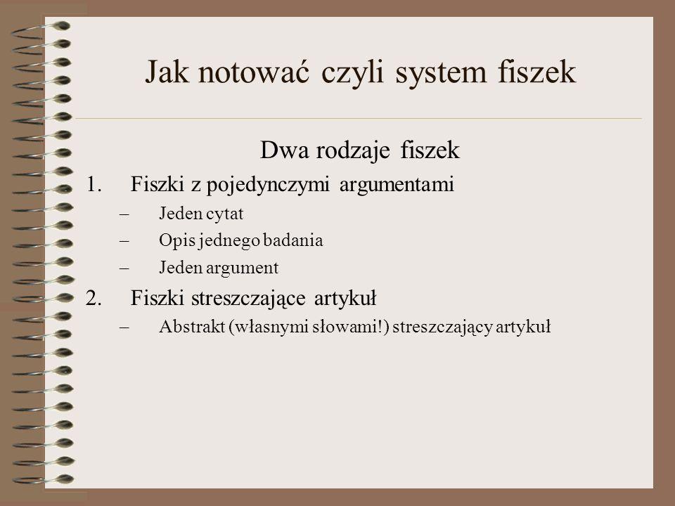 Jak notować czyli system fiszek
