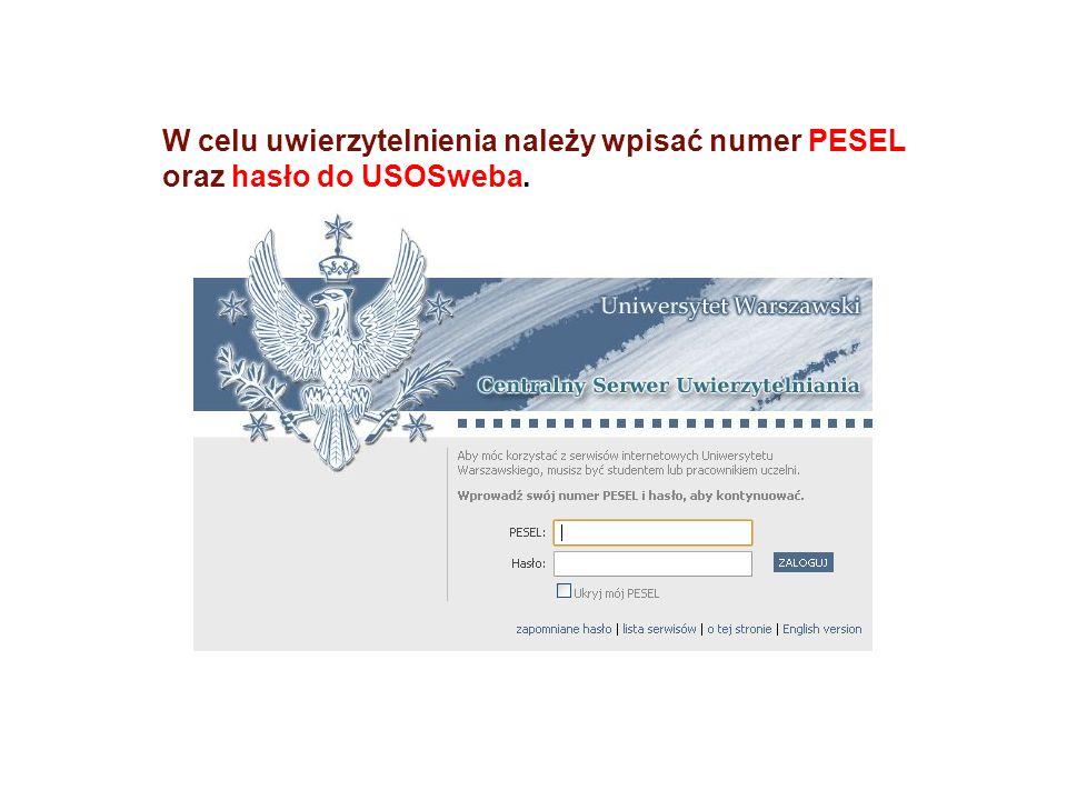 W celu uwierzytelnienia należy wpisać numer PESEL